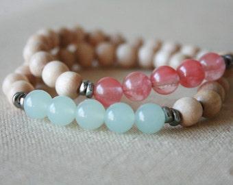 Pink Quartz & Blue Aquamarine mala bracelet //
