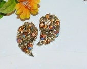 Vintage Lisner AB Topaz Open Leaf Earrings, Amber, Topaz, Gold Finish, Signed Lisner Clip Earrings