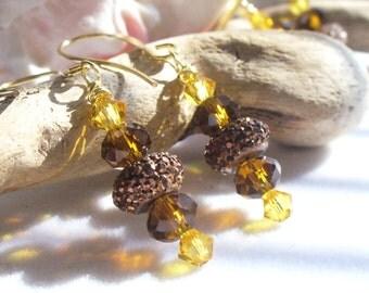 Dangle Earrings, Drop Earrings, Handmade Earrings, Beaded Earrings, Fall Earrings, Crystal Earrings, Glitter Beads, Southwest Earrings