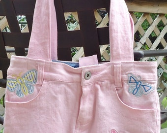 Large Lined Pink Purse with Butterflies / Handbag / Tote Bag, Handmade from Upcycled Pink Jeans, Pockets galore