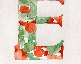 Letter E painting of watercolor. Minty coral painting. Art original. Small watercolors 7,5 by 11 inches
