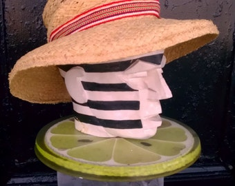 Panama plantation Sunhat Italian woven Raffia palm Sunwear COOL Summer breezy shade Vintage Triminghams Bermuda island high cowboy headdress