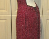 Reserved for Gabby Vintage Glass Beaded Gown Evening Dress in Wine and Black Beads, Prom Dress