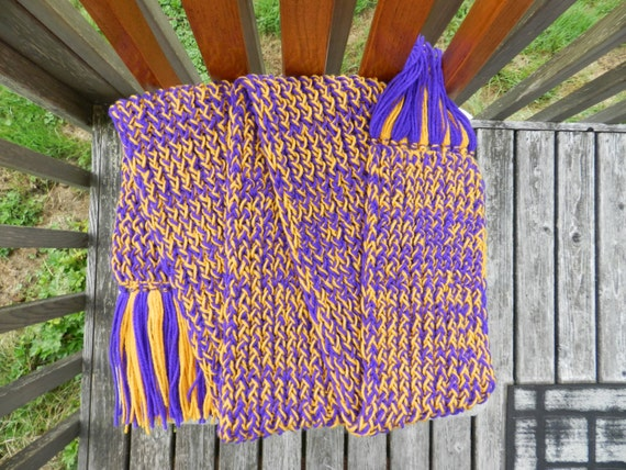 Purple & Gold Knit Scarf, Loom Knitted Scarf, Fringed Scarf, Warm Scarf, Winter Scarf, UW Huskies, LSU Tigers, ECU Pirates, Team Spirit