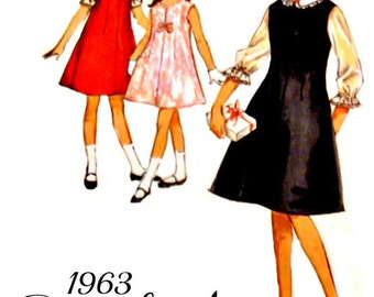 Vintage 60's Girls Aline Dress Sewing Pattern Size 8 Sleeveless Flared Jumper Blouses Simplicity 5221 Sewing Pattern Complete