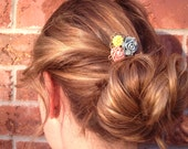Floral Hair Comb - Yellow, Grey-Blue, Pink Flower, Filigree