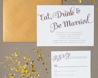 Eat Drink Amp Be Married Wedding Invitation Suite Milford