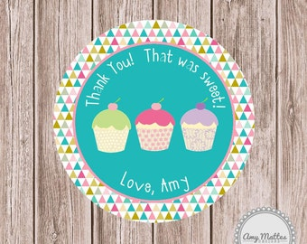Cupcake Birthday Favor Tags or Stickers Printed for You