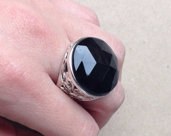 Large Round Faceted Onyx Statement Ring