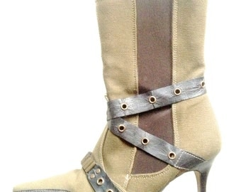 Rare vintage Moda Pelle leather canvas steampunk boots slim heel green brown designer UK 4 US 6.5
