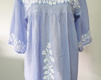 Mexican Embroidered Blouse Cotton Top In Blue, Boho Blouse, Hippie Top, Peasant Blouse