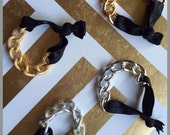 Chunky Chain Bracelet Hair Ties - Silver or Gold (Set of 2)