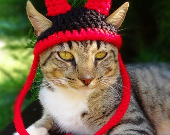 Devil Cat Hat, Devil Cat Costume, Devil Horns for Cat, Devil Pet Hat, Devil Pet Costume - The Little Devil Hat for Cats and Small Dogs