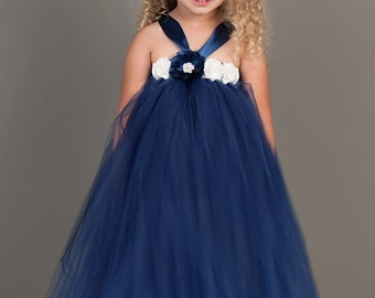Tutu Dress..Birthday Tutu Dress.. Flower girl dress...Navy Tutu Dress