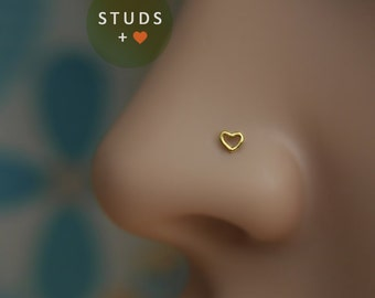 NOSE STUD /Cute Heart/ 3mm/ 24K Gold plated/ Piercing/ Sterling Silver/ Tragus Ear/ Cartilage Earrings/ Nose ring/ Hoop nose/ Helix Earrings