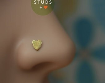NOSE STUD /Little Heart/ 24K Gold plated/ Piercing/ Sterling Silver/ Tragus Ear/ Cartilage Earrings/ Nose ring/ Hoop nose/ Helix