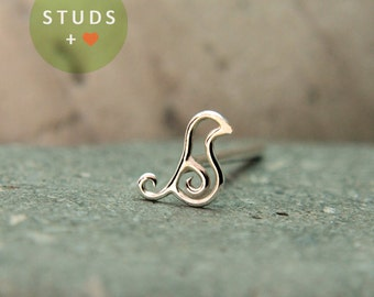 TRAGUS or CARTILAGE French Bird Swirl silver/ cartilage earring tragus gold tragus earring cartilage cartilage ring nose studs