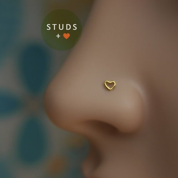 NOSE STUD Cute Heart 3mm 24K Gold plated Piercing