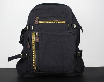 Large Studded Canvas Backpack - Assorted Colors