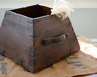 Antique Wooden Scoop Vase Bin