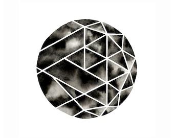 Geometric Circle Watercolor Painting Minimalist Scandinavian Circles Artwork Modern Art Marbled Black and White Watercolor Monochrome Art