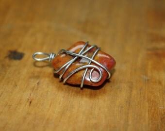 SALE Wire wrapped Jasper pendant