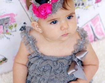 Black and grey Hot pink shabby Headband, baby Headband, Baby head band, newborn headband, flower head band, baby girl  hairbow