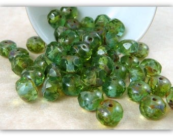 Czech Beads, 8x6mm Rondelle, Czech Glass Beads - Peridot Green Glass Beads (R8/N-0639) - Qty 12