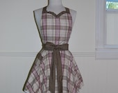 Comfy Plaid and Polka Dot Full Sweetheart Apron with Ruffled Neckline