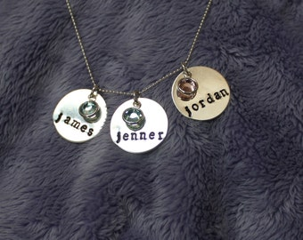 Three name necklace, Mommy necklace, birthstone mother necklace