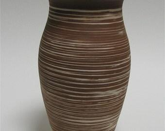 Red Stoneware Vase with Inlaid White Slip Decoration