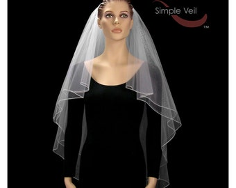 Fingertip Length Bridal Veil, Pencil Edge, Center Gathered