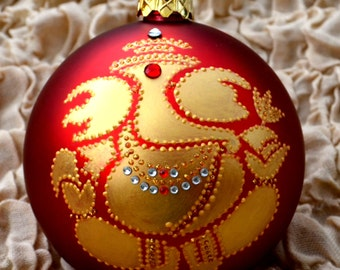 Gorgious Golden Hand Painted Ganesha on Extra Large Dark Red Shatterproof Ornament India Art