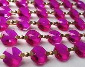 1 Yard Fuchsia Hot Pink Chandelier Crystal Chains Prism Shabby Chic Wedding Garland