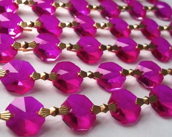5 Yard Fuchsia/Hot Pink Chandelier Crystal Chains Swags Crystal Prism Yards Shabby Chic Cottage Style Chandelier Ornaments