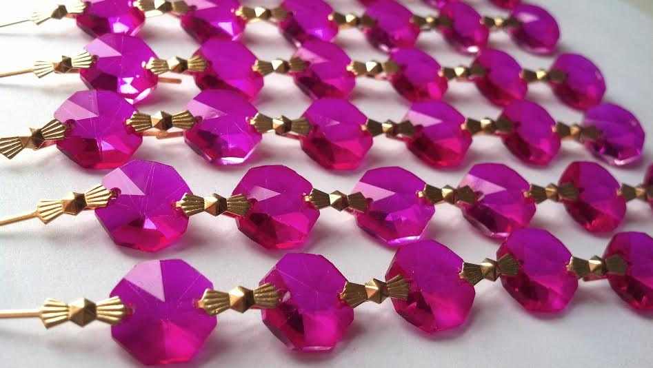 1 Yard Fuchsia Hot Pink Chandelier Crystal Chains Prism Shabby