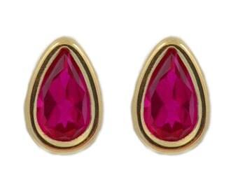 14Kt Yellow Gold Ruby Pear Bezel Stud Earrings