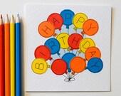 Handmade Birthday Greeting Card - Happy Birthday - Happy Birthday Balloons Greeting Card
