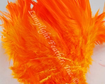 """200+ Feathers, Orange, Rooster saddle, 3-5"""" Wholesale, bulk, feathers, 1 foot strung piece"""