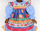 American Girl, 18 Inch Doll Clothes, Pinafore Dress, Blue, Flowers, Swedish Patchwork