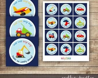 Transportation Favor Tags / Vehicles, Cars, Trucks, Tractor, Favor Tags /  Transportation Birthday Labels / INSTANT DOWNLOAD - Printable