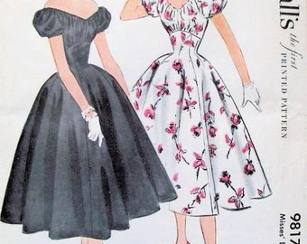 Vintage 1950s McCall 9817 Vintage Sewing Pattern Rockabilly BREATHTAKING Off the Shoulder Peasant Dress Cocktail Party Style Bust 32