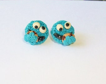 cookie monster or elmo stud earrings