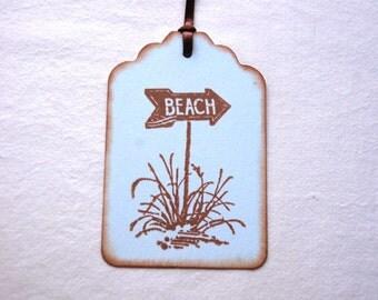 Beach Sign Tags, Ocean Theme -Set of 6 Blue Beach Gift/ Favor Tags (Beach Wedding/ Bridal Shower/ Sweet 16/ Birthday/ Summer Beach Party)
