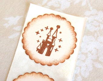 Disney Cinderella's Castle (Girl's Fairy Tale Birthday Party decor/ invitations)  -Set of 12 Stickers/ Envelope Seals (The Magic Kingdom)