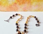 Necklace Gold Brown Pearls Swarovski Gift 402