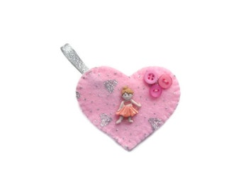 Heart Brooch with Buttons, Ballerina motif and Ribbon.  HALF PRICE SALE