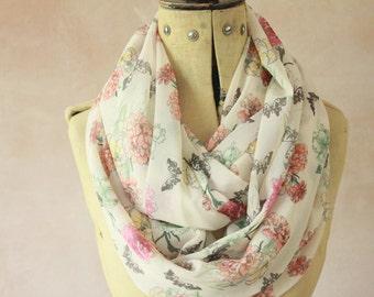Chiffon - Large Infinity scarf, Eternity scarf, Circle scarf, Chiffon scarf, Tube scarf, Snood -  Carnation Chiffon