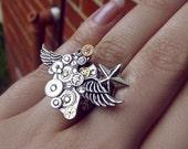 Steampunk ring, silver steampunk, filigree ring, boho ring, angel ring, magic ring, watch gear ring, galaxy ring, OOAK
