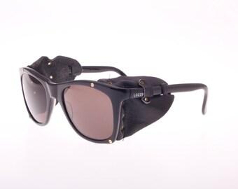 Lozza Vintage 80s Skying Motorcycle Sunglasses Black